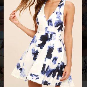 Lulus Blue and Ivory Print Skater Dress